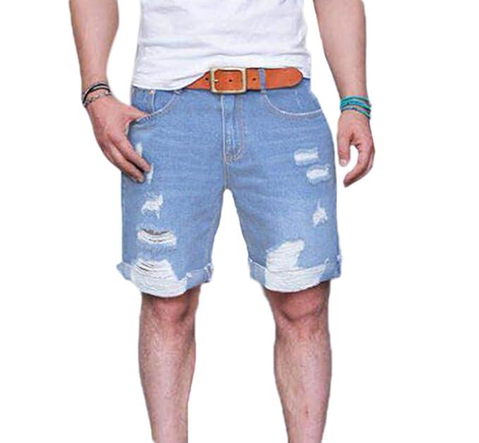 de6a3af150 Hellomiko Pantalones Cortos de Mezclilla para Hombres - Regular Fit  Laminados Rasgados Agujero Roto Dobladillo Medio Flojo Rectos  Amazon.es   Ropa y ...