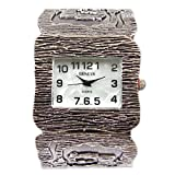 Silver Black Art Jewelry Wide Bracelet Women's Bangle Cuff Watch