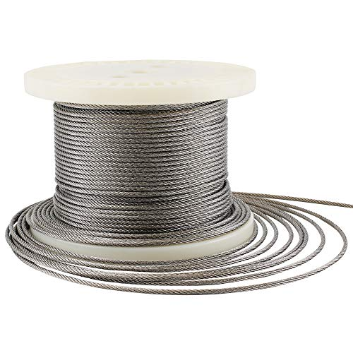 Muzerdo 200Ft Stainless 1/8Inch Aircraft Steel Wire Rope Cable 7x7 for Railing, Decking, DIY Balustrade by Muzerdo (Image #9)