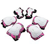 Kids Protective Gear,Knee Elbow Pads and Wrist Child's Pad Set for Inline Roller Skating Biking Sports Safe Guard ,(Pink)