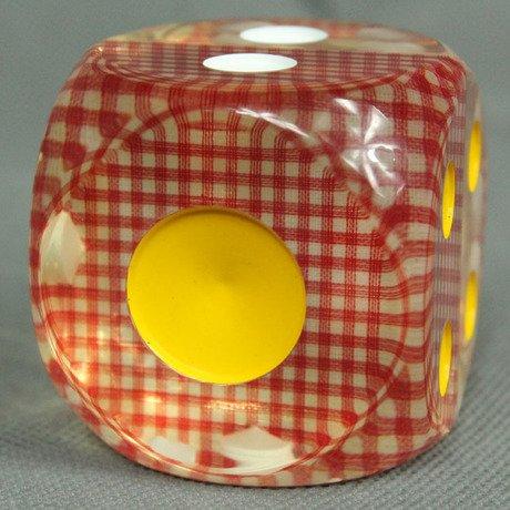 おもしろダイス チェック柄 大きな クリア サイコロ 珍しくて 涼しげです 4.9cm (赤チェック系)