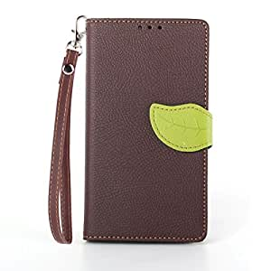 Yakamoz Elegant 3D Floral Leaf Style Brown Leather Folio Wallet Stand Case with Card Slots for Sony Xperia Z1 C6903 (Honami) with Free Screen Protector & Stylus Pen