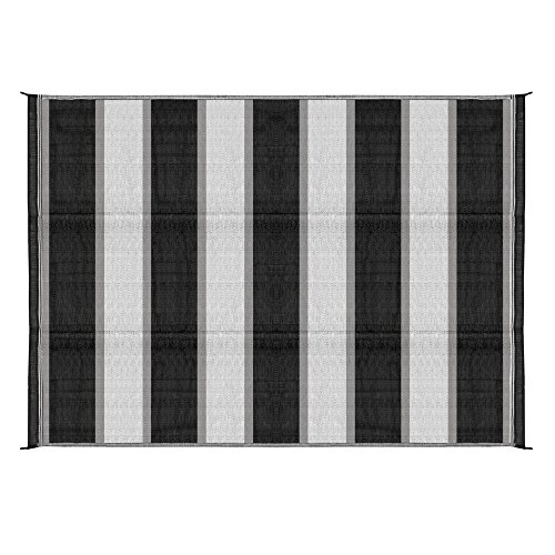 Camco Large Reversible Outdoor Patio Mat - Mold and Mildew Resistant, Easy to Clean, Perfect for Picnics, Cookouts, Camping, and The Beach (6' x 9', Charcoal Stripe Design) (42873)