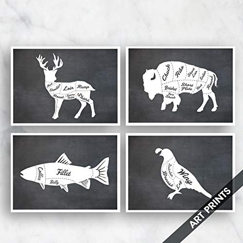 Deer Venison, Buffalo, King Salmon, Quail (Butcher Diagram Series B) Set of 4 5x7 inch Unframed Art Prints (Featured in Vintage Chalkboard Style) Kitchen Art/Wall decor