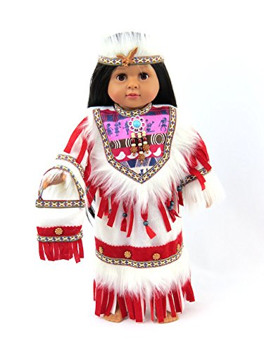 Red Native American Outfit with Purse | Fits 18'' American Girl Dolls, Madame Alexander, Our Generation, etc. | 18 Inch Doll Clothes by Our American Fashion World