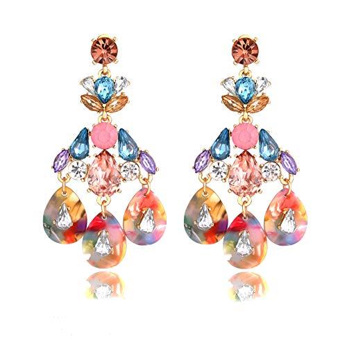 Earrings Chandelier Color Multi - Seni Jewelry Multicolor Crystal Chandelier Statement Drop Earrings Boho Acrylic Rhinestone Drop Teardrop Dangle Earrings for Girls (Colorful Crystal)