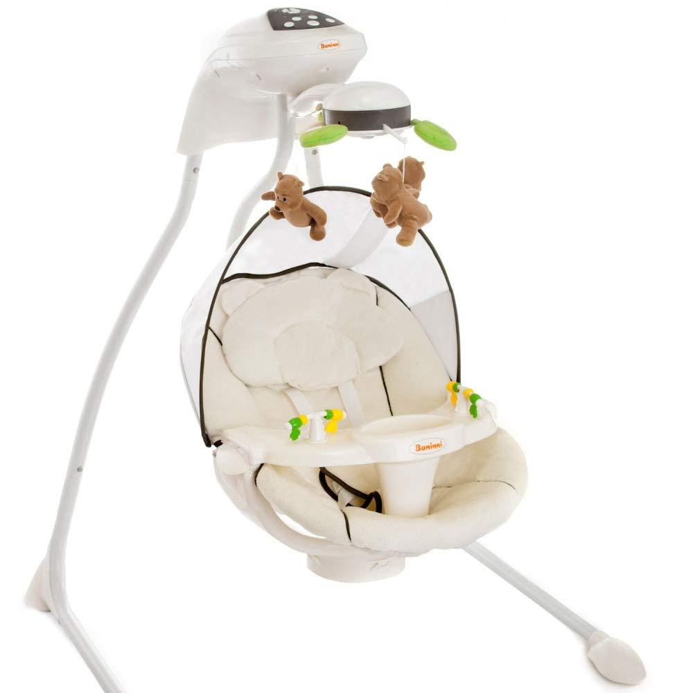 Baninni Elektrische Babyschaukel Modell Dodoli mit Musik Licht Mobile verstellbarer Sitz Timer Braun Beige
