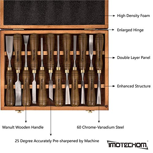 IMOTECHOM 12-Pieces Woodworking Wood Carving Tools Chisel Set with Walnut Handle, Wooden Storage Case by IMOTECHOM (Image #2)