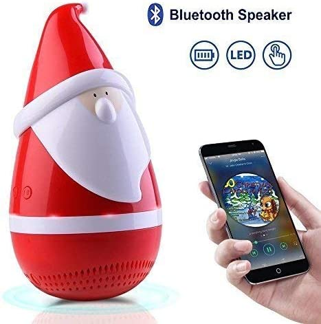 Santa Claus Bluetooth Speakers, Portable Stereo Speaker, Marceloant Wireless Tumbler Stereo Audio Speaker with LED Light, Rich Bass, Rechargeable Toy Speaker