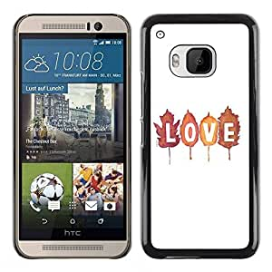 All Phone Most Case / Hard PC Metal piece Shell Slim Cover Protective Case Carcasa Funda Caso de protección para HTC One M9 Autumn Fall Leaves Text White Nature