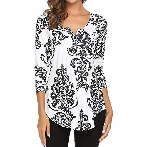 DEATU Womens O Neck Elegance Floral Print Tops Ladies Casual Flare Tunic Blouse Long Sleeve Shirt (S, -
