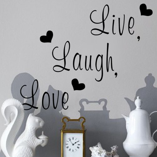 "Zooyoo "" Live, Laugh, Love "" Love Heart DIY Removable Wall D"