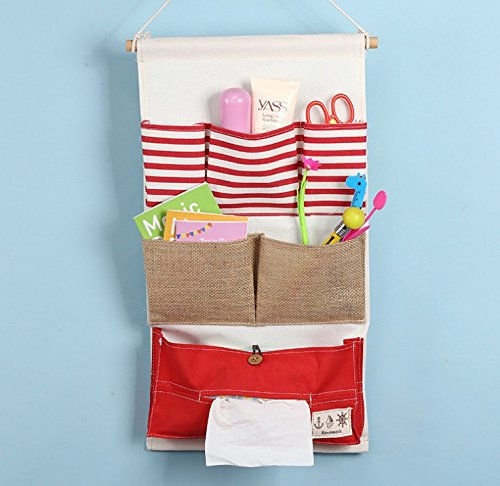 [Fabric Wall Door Closet Hanging Storage Bag Organizer Striped red (ุ6 Pockets)] (Red Fanta Girl Costume)