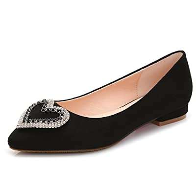 Aisun Women's Fashion Comfy Rhinestone Heart Low Cut Pointed Toe Dress Slip On Flats Shoes Pumps Low Heels