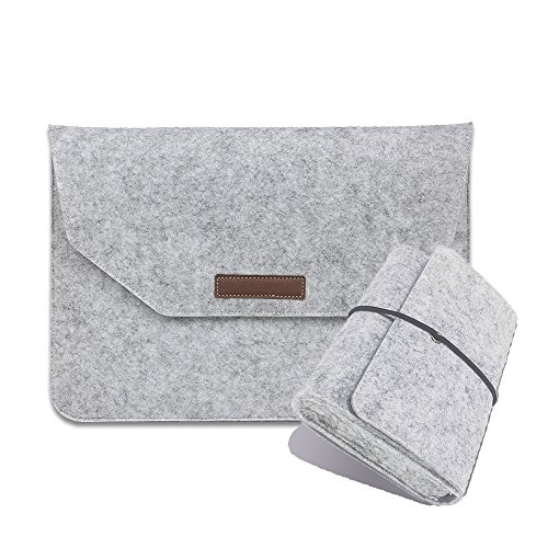 Wool Felt MacBook Sleeve for Apple Macbook Air 13 Pro Retina 13 Case Laptop Protector Bag with Mouse USB Cable Bag Light Gray Best Gift