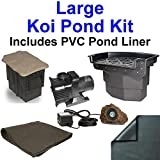 20' x 25' Large PVC Pond Kit, Atlantic Water Gardens BF2600 Filtering Waterfall & PB1311 Skimmer, 5,200 GPH Pump - PVC2025