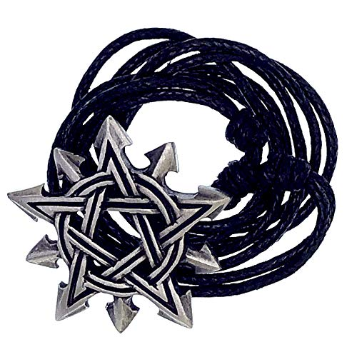 - Ohdeal4U Chaos Pentagram Pentacle Star Gothic Chaosagram Magic Pewter Pendant Charm Amulet Medallion (Black Adjustable Cord)