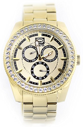 Marc Ecko Mens The Link Multifunction Crystal Accented All Gold Tone Stainless Steel Watch E18513G1