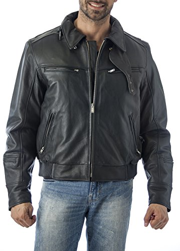 Reed Men's Vented Leather Motorcycle Jacket with Biker Ne...