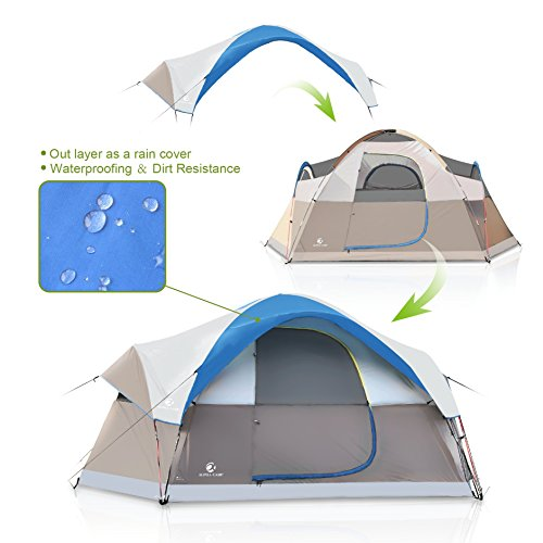 6 Person Tent. ALPHA CAMP Dome Family Camping Tent 6 Person - Blue 14' x 10'