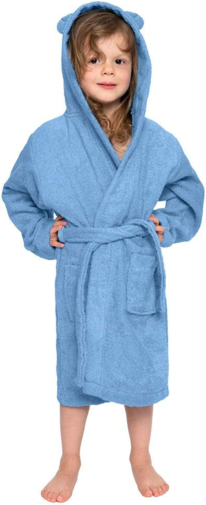 Plush Flannel Robes Long Hooded Bathrobes Pajamas Night Gown for Baby Boys Girls Kids Age 1-8 Transer