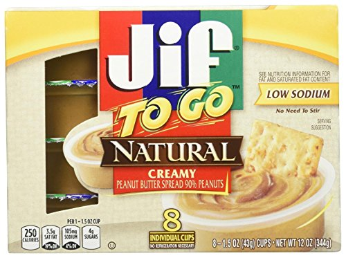 Jif To Go Natural Creamy Peanut Butter - 1.5 oz - 8 ct
