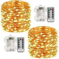 LED Guirlande Lumineuse x 2 Dimmable 10M 100Leds avec Télécommande Étanche Décoratif Chaud Blanc Lumières pour Chambre Jardin Patio Partie De Mariage