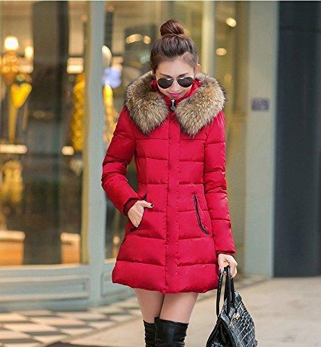 Parka Women Rosso Faux Giacca M Cappotto Jacket Cappuccio Puffer Con Bigood CUgwXqw