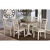 "Wholesale Interiors 7 Piece Roseberry Shabby Dining Set with Trestle Base 60"" Fixed Top Dining Table, Oak/Distressed White"