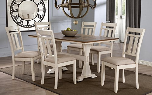 Wholesale Interiors 7 Piece Roseberry Shabby Dining Set with Trestle Base 60