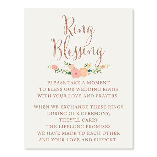 - Andaz Press Wedding Party Signs, Faux Rose Gold Glitter with Florals, 8.5x11-inch, Ring Blessing, 1-Pack, Colored Decorations