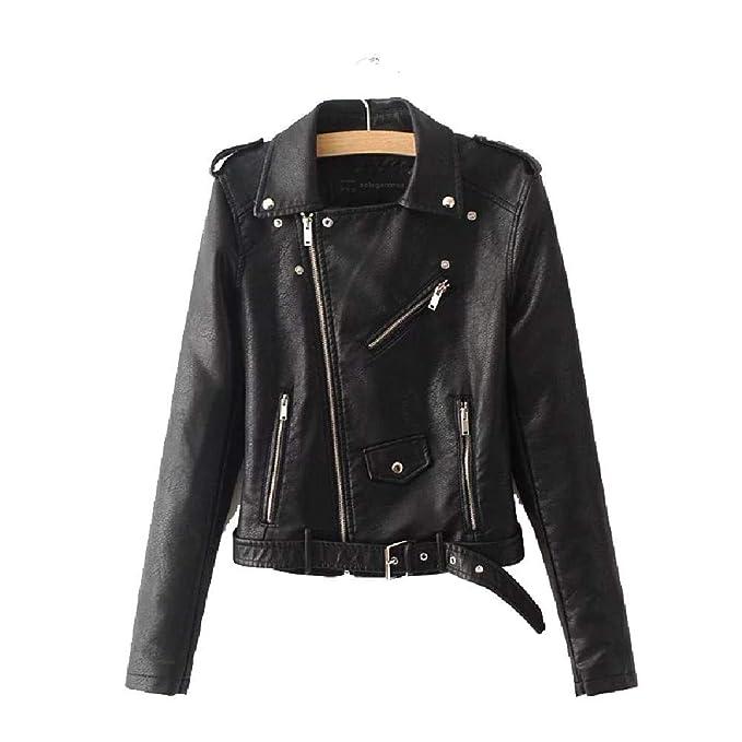 Womens Faux Soft Leather Jacket Zipper Motorcycle PU Leather Jacket coat outwear