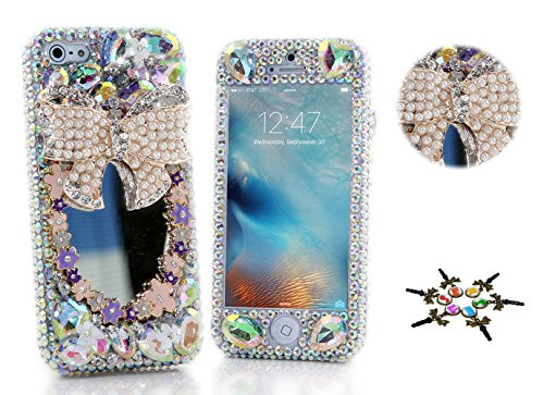 STENES iPhone X Case - STYLISH - 100+ Bling Crystal - 3D Handmade Bowknot Flowers Girls Mirror Design Bling Front & Back Snap-on Hard Cover Case for iPhone X - Pink Mirror Front Wardrobe