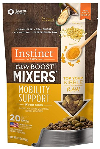 Mobility Support - Instinct Freeze Dried Raw Boost Mixers Mobility Support Grain Free All Natural Dog Food Topper by Nature's Variety, 5.5 oz. Bag