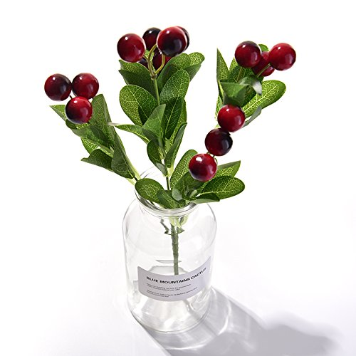 WDDH Artificial Berry Stems Holly Christmas Berries,Fruit Fake Silk Flowers Home Decorative Party Wedding(Pack of 10)