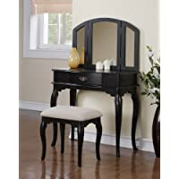 3 Pc Makeup Vanity Set with Drawer, Stool and Mirror in Black Finish