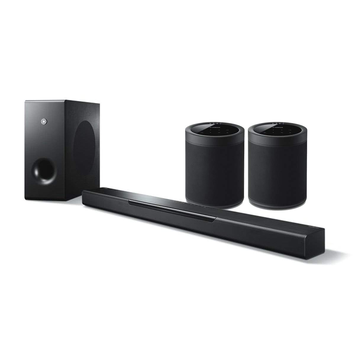 YAMAHA MusicCast BAR 400 Sound Bar with Wireless Subwoofer and WX-021BL MusicCast 20 Wireless Speakers - Pair (Black)
