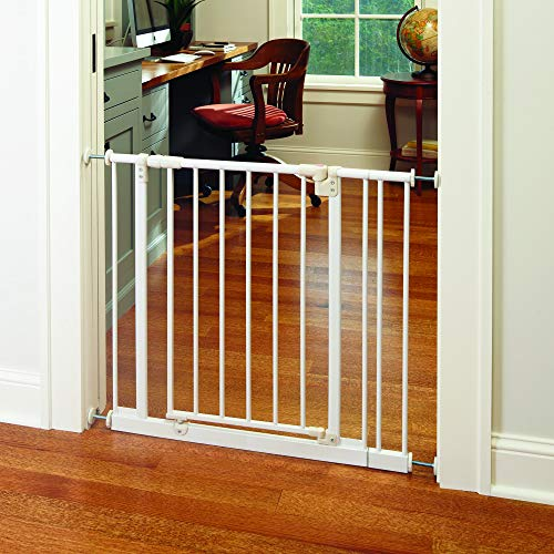 """Easy-Close Gate"" by North States: The multidirectional swing gate with triple locking system – Ideal for doorways/between rooms. Pressure mount, fits openings 28″ to 38.5″ wide (29″ tall, Soft white)"