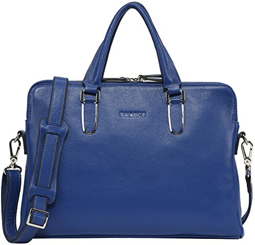 Banuce Unisex Genuine Leather Slim Briefcase Top-zip Laptop Bag Color Blue