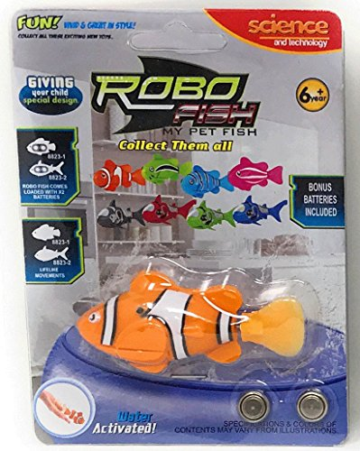 Robo Fish Electronic Water Activated Clown Fish, Orange -