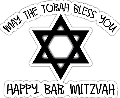 4 All Times May The Torah Bless You Happy Bar Mitzvah Automotive Car Decal for Cars, Trucks, Laptops (12.0