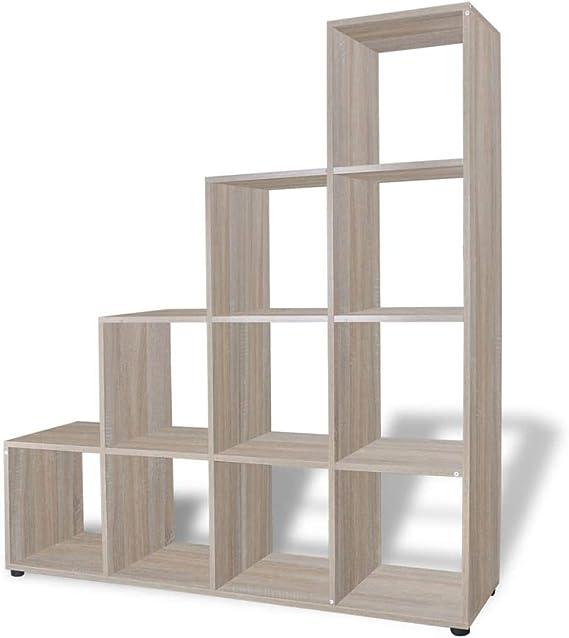 vidaXL Estantería para Libros en Forma Escalera Dimensiones Altura 142 cm Color Roble: Amazon.es: Hogar