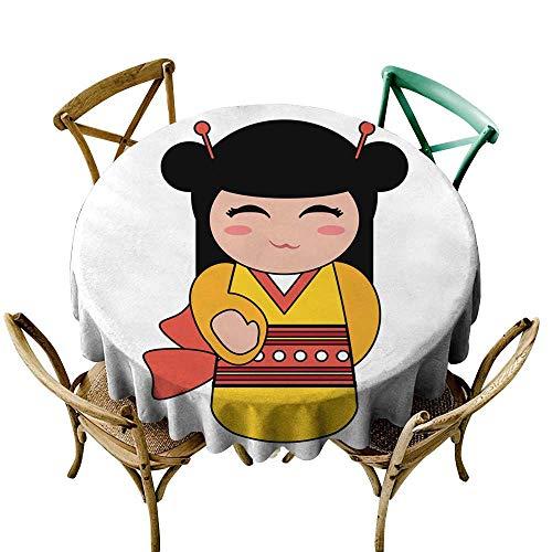 SKDSArts Vintage tablecloths Geisha Cartoon avatar113 D60,Modern Washable Tablecovers]()