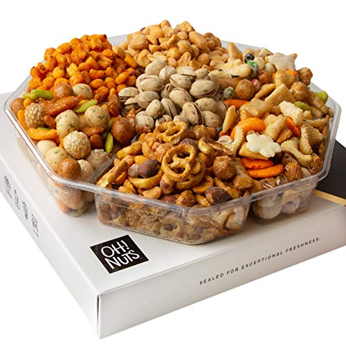 Oh! Nuts Exotic Snacks Party Assortment Food Gift Set  Christmas Holiday Basket  Unique Snack Baskets, Spicy & Hot Cajun Assortment Tray Thanksgiving, Fathers Day Gifts (Exotic mixes Gift Tray)