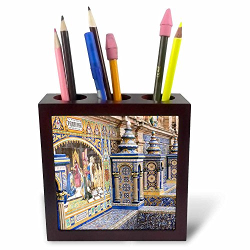 3dRose Danita Delimont - Spain - Spain, Andalusia, Seville. Traditionally decorated Plaza de Espana - 5 inch tile pen holder (ph_277896_1) by 3dRose
