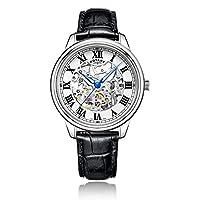 Rotary Herren Armbanduhr, Analog, Automatik, weißes Zifferblatt, Lederband in...