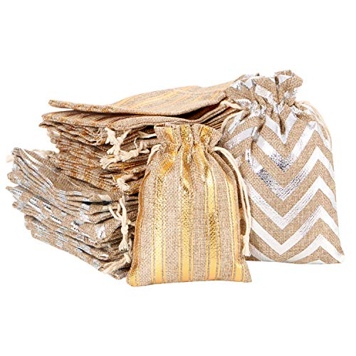 30pcs Burlap Bags with Drawstring, Jute Gift Bag Jewelry Pouches Sachet Candy Bag for Wedding Party Birthday Baby Shower Christmas DIY Craft Art Project Favors (Gold & Silver Strip)