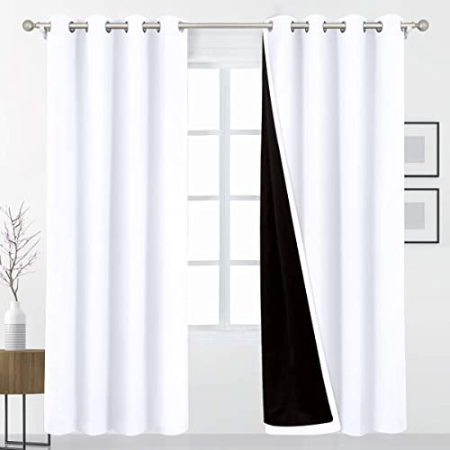 HOMEIDEAS White 100 Blackout Curtains 52 X 96 Inch Long 2 Panels Total Room Darkening Bedroom Curtains,Thermal Insulated Energy Saving Thick Double Layers Grommet Curtain