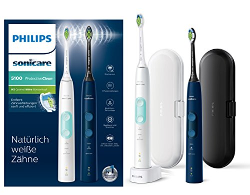 Philips Sonicare hx6851/34 Protect Ive Clean 4500 Cepillo de dientes eléctrico con tecnología de sonido, doble Pack, color blanco & azul oscuro,: Amazon.es: ...