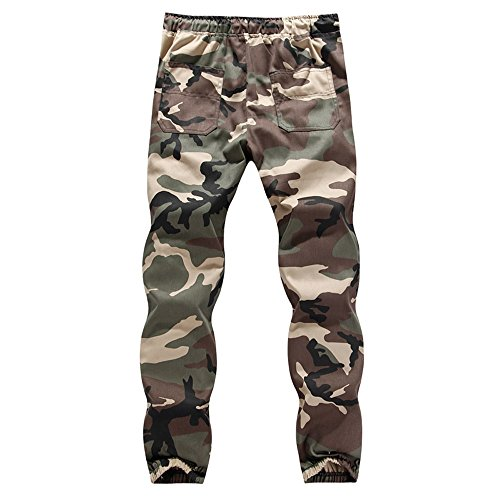 Men's Causal Slim Fit Twill Chino Jogger Pants Running Sports Camo Trousers by Bookear